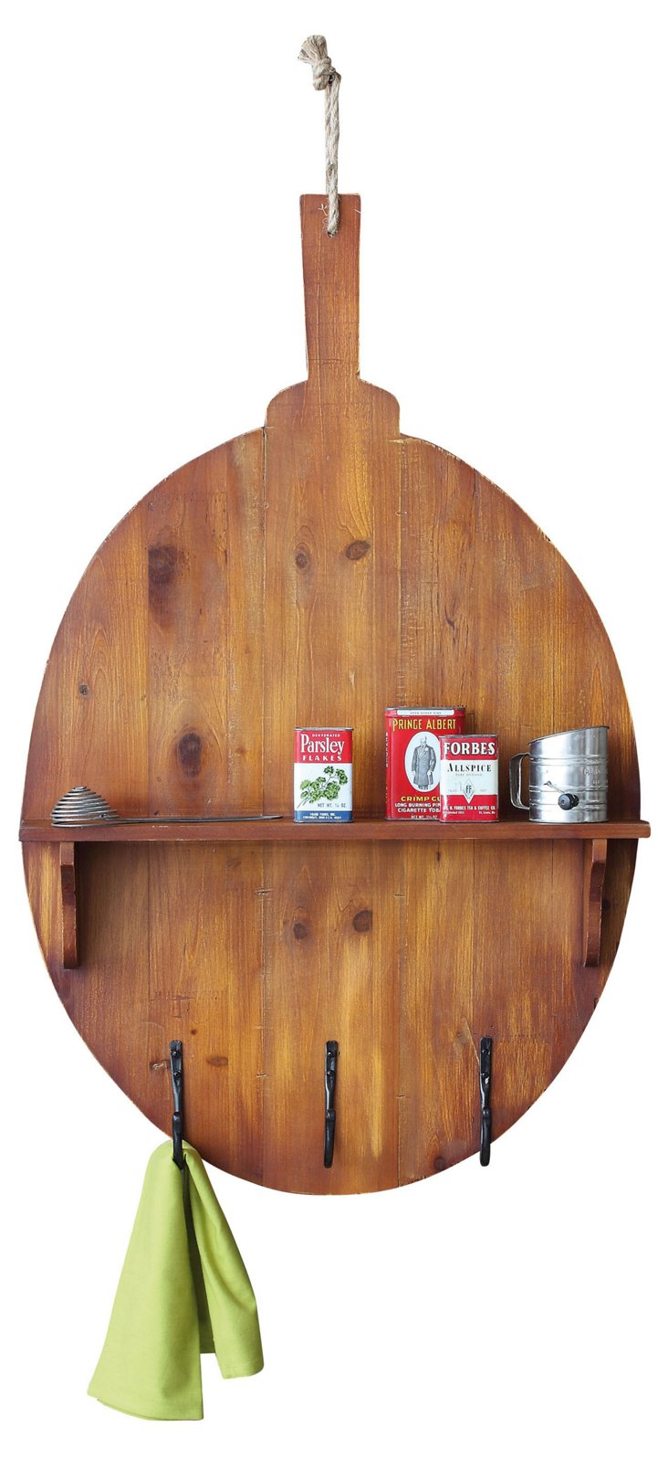 Wood Bread Board w/ Shelf & Metal Hooks
