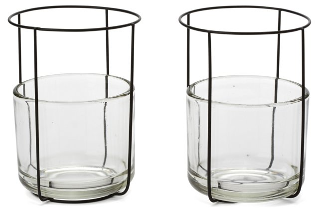 Pair of Glass-and-Wire Candleholders
