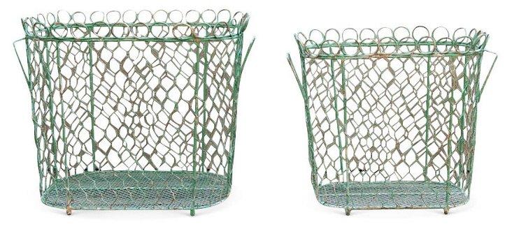 S/2 Tin Baskets, Aqua
