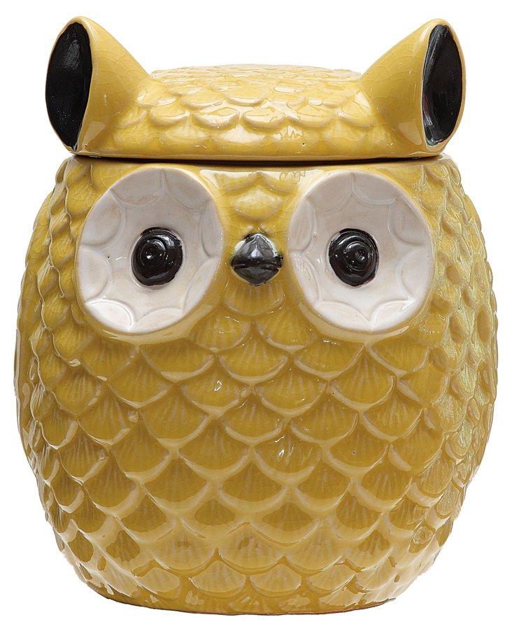 """8"""" Stoneware Owl Jar w/ Lid, Yellow"""