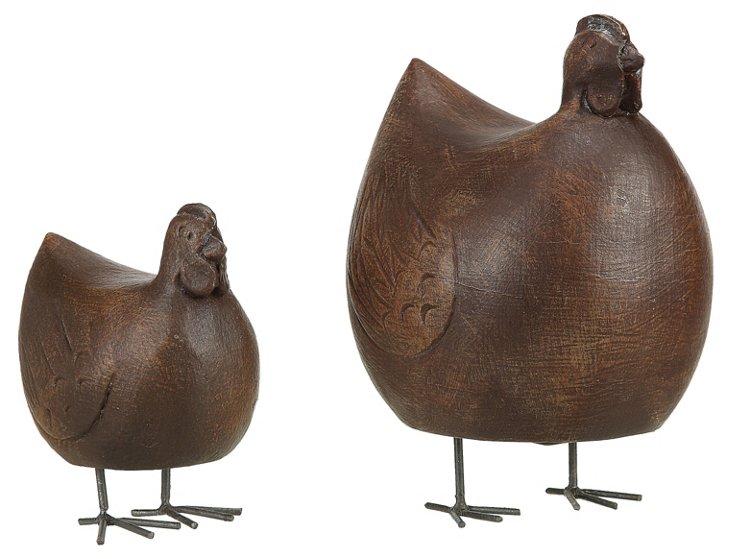 Asst. of 2 Wood Chickens w/ Metal Feet