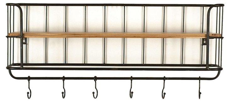 Wood & Metal Wall Shelf w/ 6 Hooks
