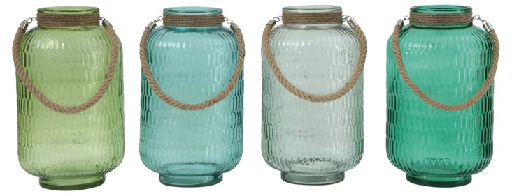 Asst. of 4 Glass Lanterns, Green/Blue