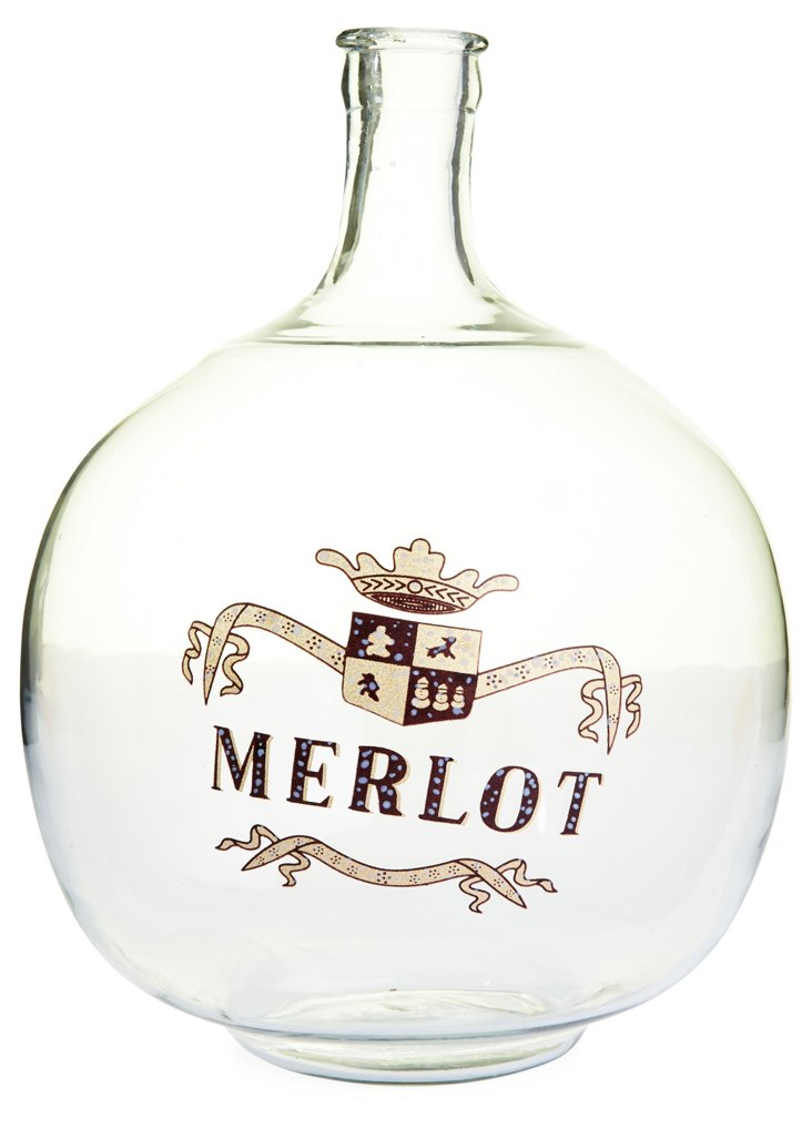 "12"" Glass Bottle w/ Hand-Painted Merlot"