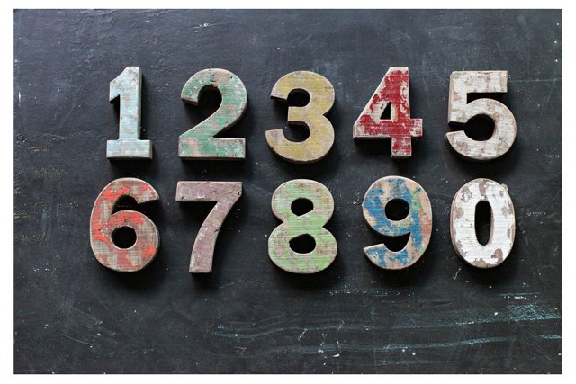 Asst. of 10 Wood Numbers, Multi