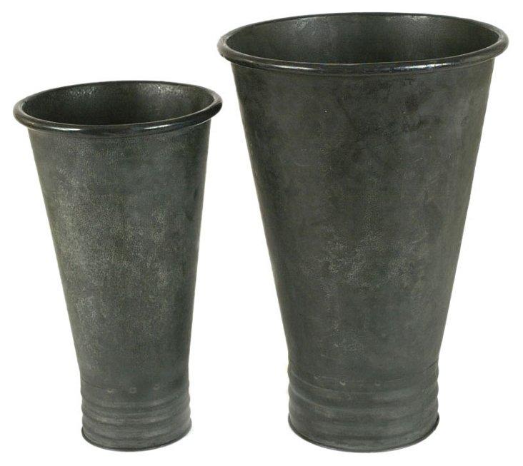 Asst. of 2 Metal Vases, Gray