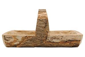 """20"""" Wood Trug w/ Handle, Tan"""