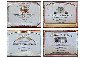 Asst. of 4 Vintage-Style Wine Signs
