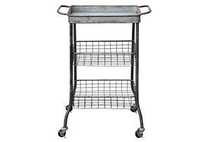 Tin Cart on Casters w/Wire Shelves