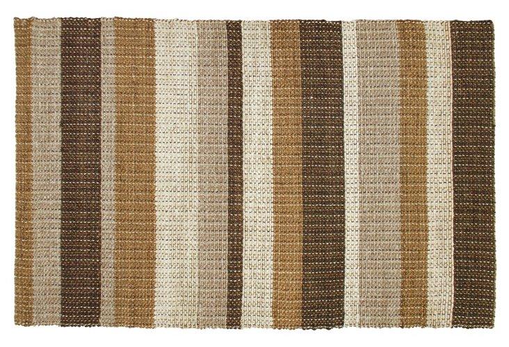 2'x3' Stripe Jute Rug, Brown/Multi