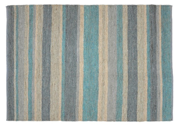 2'x3' Stripe Soumak Rug, Teal/Multi