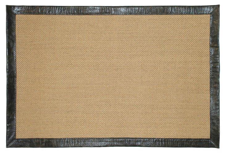Pampas Sisal Rug, Black Leather