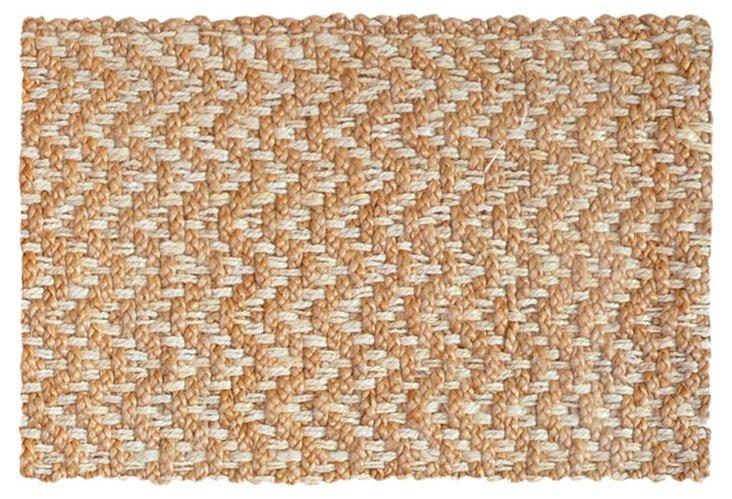 2'x3' Herringbone Jute Rug, Tan/Ivory