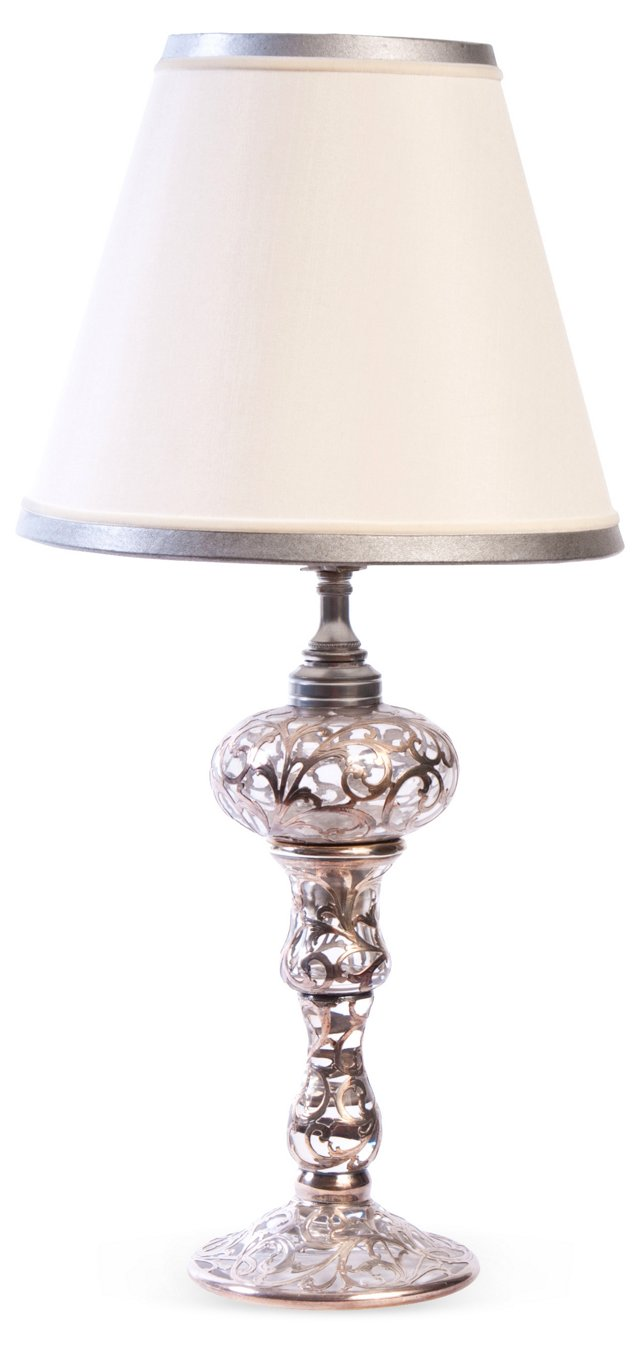 Sterling Silver Overlay Glass Lamp