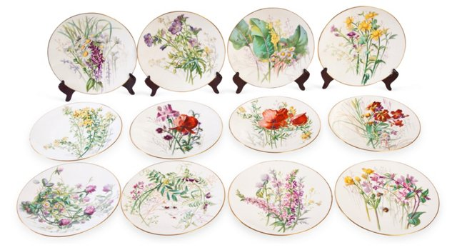 1950s French Plates, Set of 12