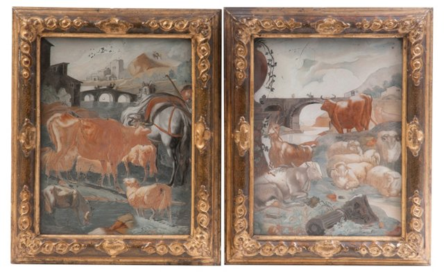 18th-C. Églomisé Paintings, Pair