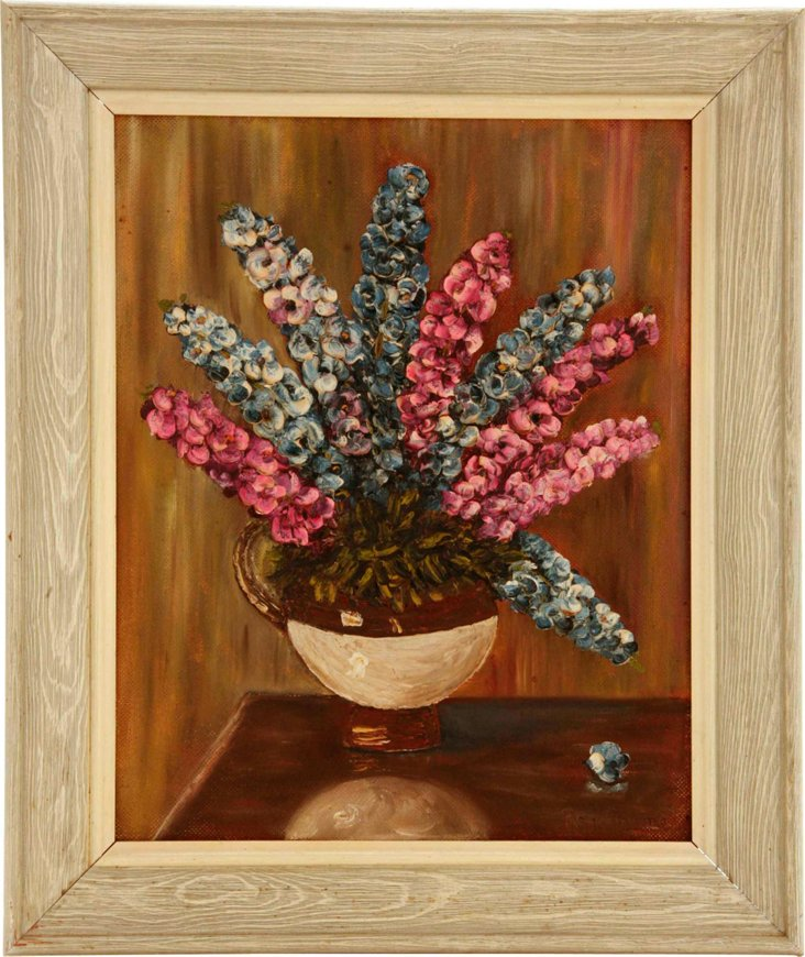Oil Painting, Flowers C. 1950