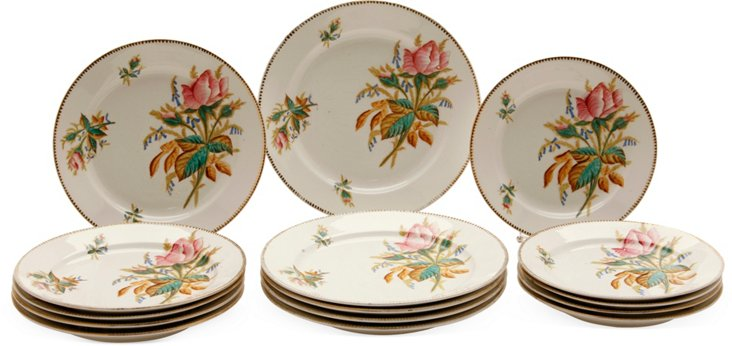 19th-C. Hand-Painted Plates, Set of 15