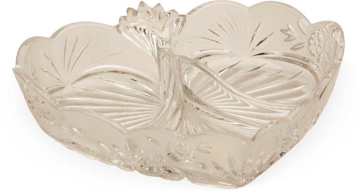 Vintage Lead Crystal Heart-Shaped Dish