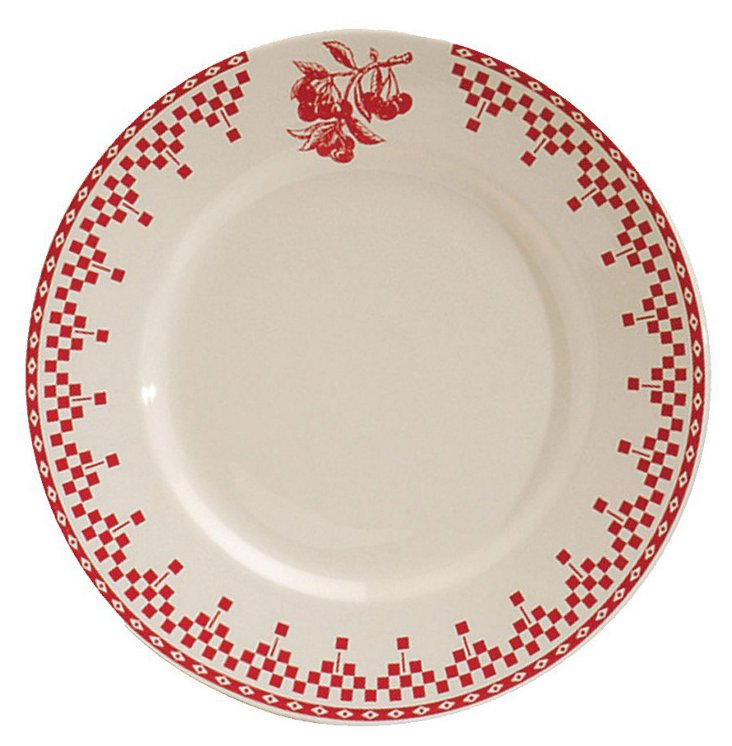 S/4 Ceramic Damier Rouge Dinner Plates