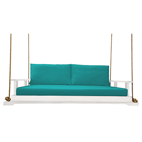 Hampton Bed Swing, White/Aqua