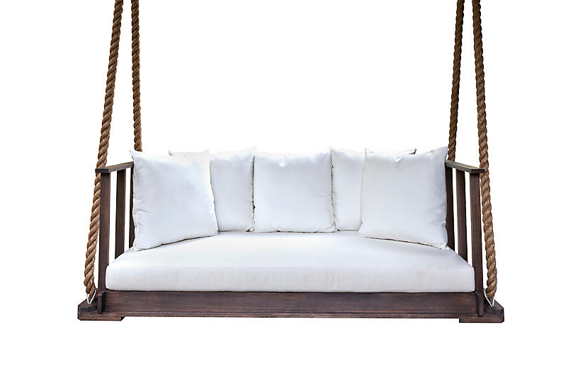 Country Side Bedswing, Coffee/White