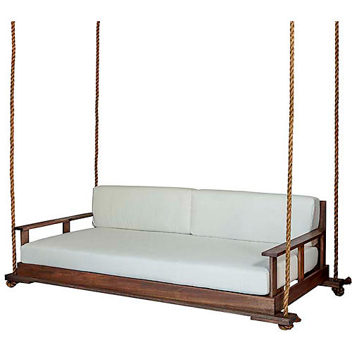 Faulkner Porch Swing, White/Natural Sunbrella