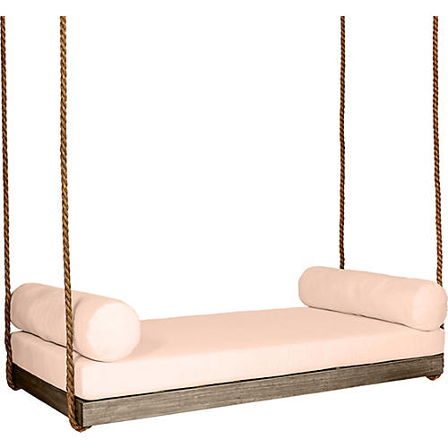 Sipsey Porch Swing, Driftwood/Rose Sunbrella
