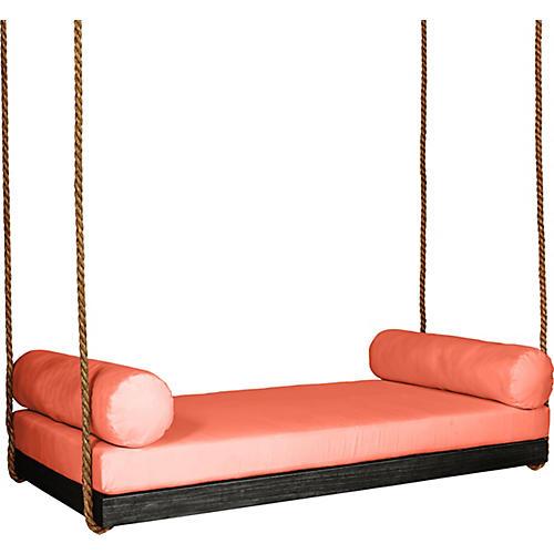 Sipsey Porch Swing, Black/Orange Sunbrella