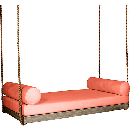 Sipsey Porch Swing, Driftwood/Orange Sunbrella