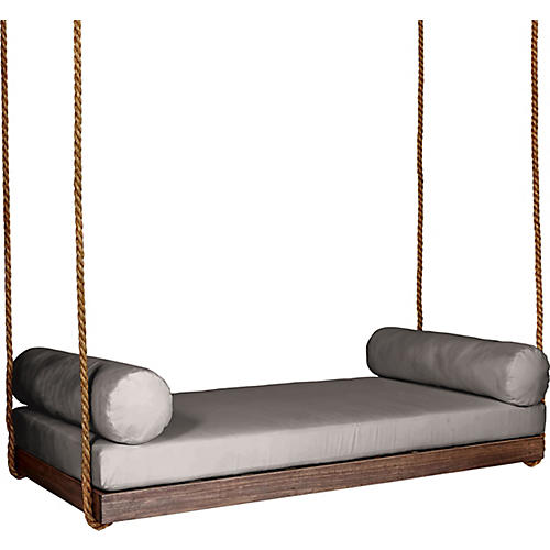 Sipsey Porch Swing, Coffee/Gray Sunbrella