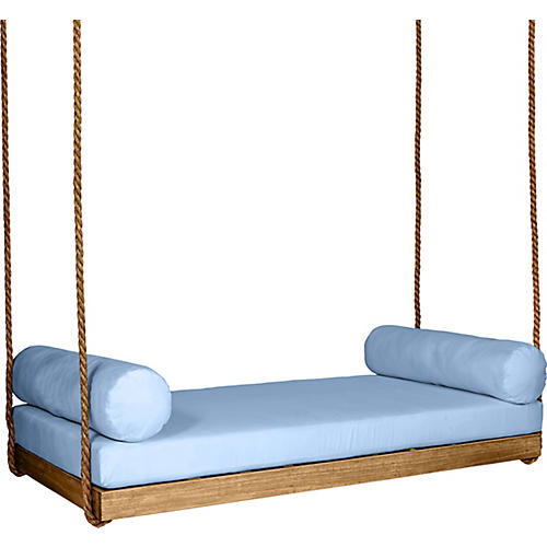 Sipsey Porch Swing, Natural/Blue Sunbrella