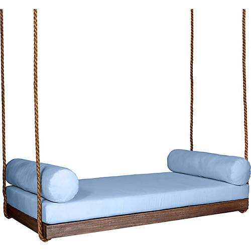 Sipsey Porch Swing, Coffee/Blue Sunbrella
