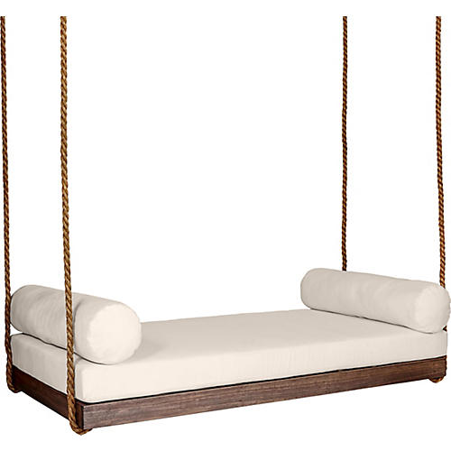Sipsey Porch Swing, Coffee/Beige Sunbrella