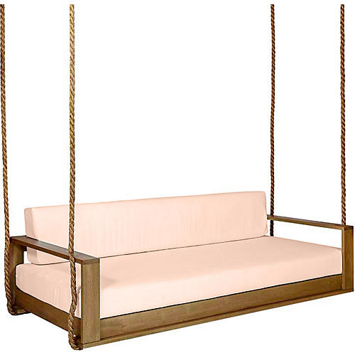 Percy Porch Swing, Natural/Rose Sunbrella
