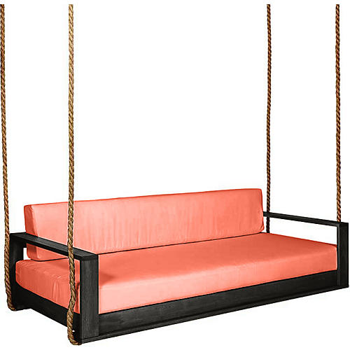 Percy Porch Swing, Black/Orange Sunbrella