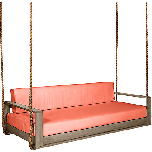 Percy Porch Swing, Driftwood/Orange Sunbrella