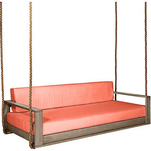 Percy Porch Swing, Driftwood/Orange Sunbrella