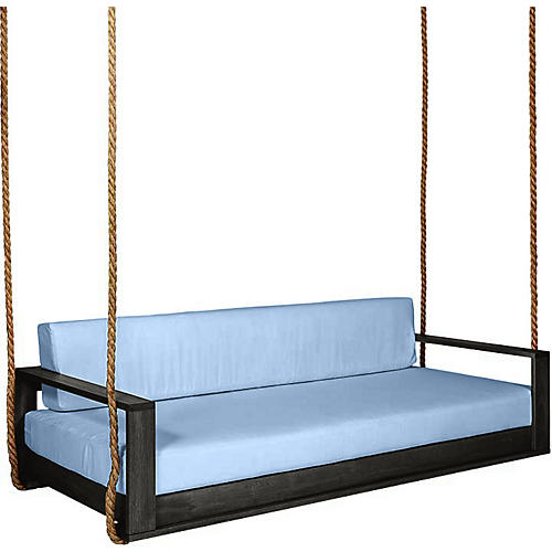 Percy Porch Swing, Black/Blue Sunbrella