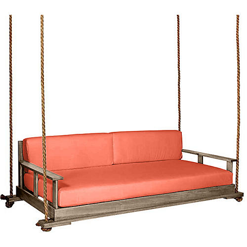Faulkner Porch Swing, Driftwood/Orange Sunbrella