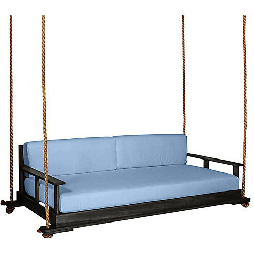 Faulkner Porch Swing, Black/Blue Sunbrella