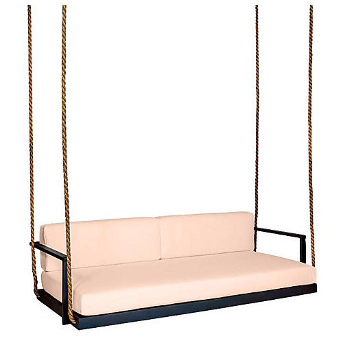 Conroy Porch Swing, Black/Rose Sunbrella