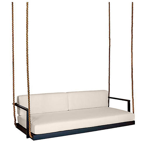 Conroy Porch Swing, Black/Beige Sunbrella