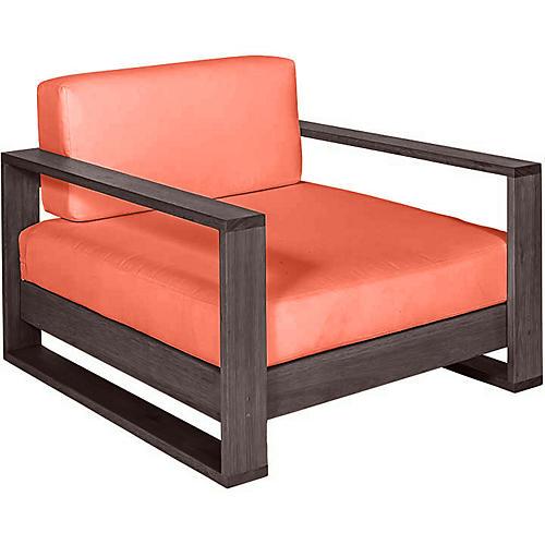 Percy Club Chair, Coffee/Orange Sunbrella