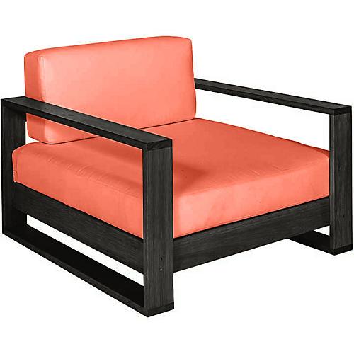 Percy Club Chair, Black/Orange Sunbrella