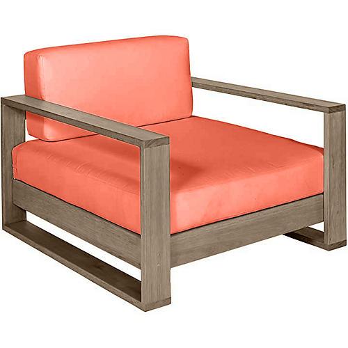 Percy Club Chair, Driftwood/Orange Sunbrella