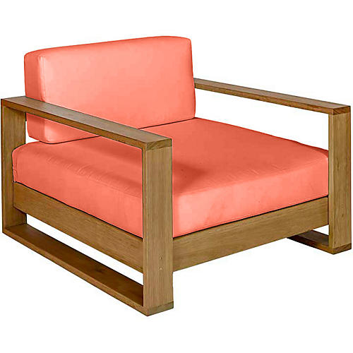 Percy Club Chair, Natural/Orange Sunbrella