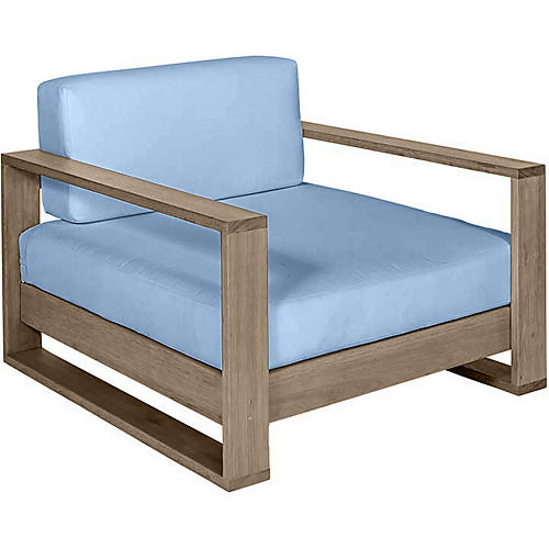 Percy Club Chair, Driftwood/Blue Sunbrella