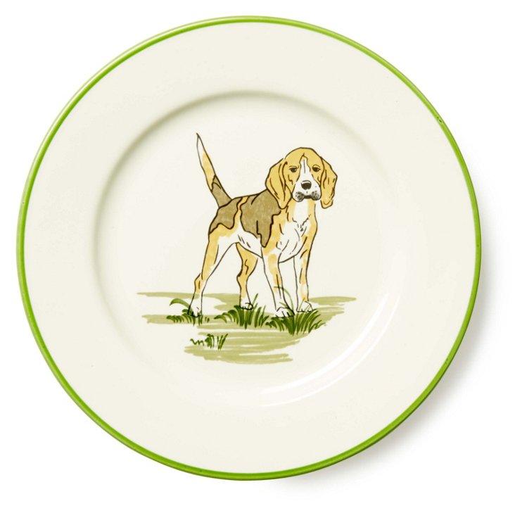S/4 Beagle Dessert Plates