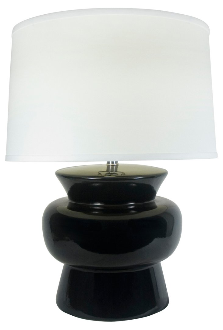 Drum Ceramic Table Lamp, Black
